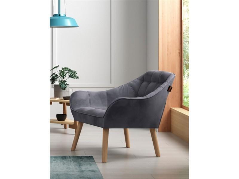 Oslo fauteuil en velours anthracite 437028