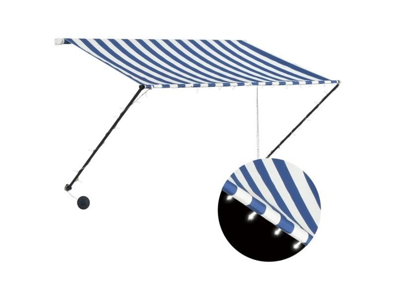 Vidaxl auvent rétractable avec led 250x150 cm bleu et blanc 145903