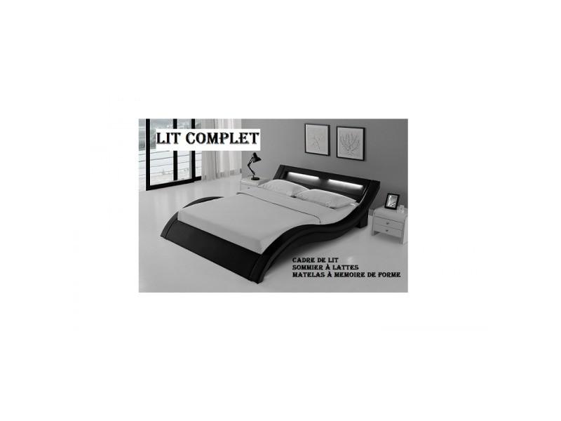 Lit Complet Led Laurine 140x190cm Matelas Essentiel Memoire De