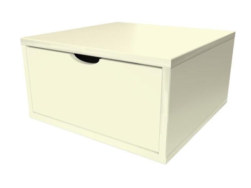 Cube de rangement bois 50x50 cm + tiroir ivoire CUBE50T-IV
