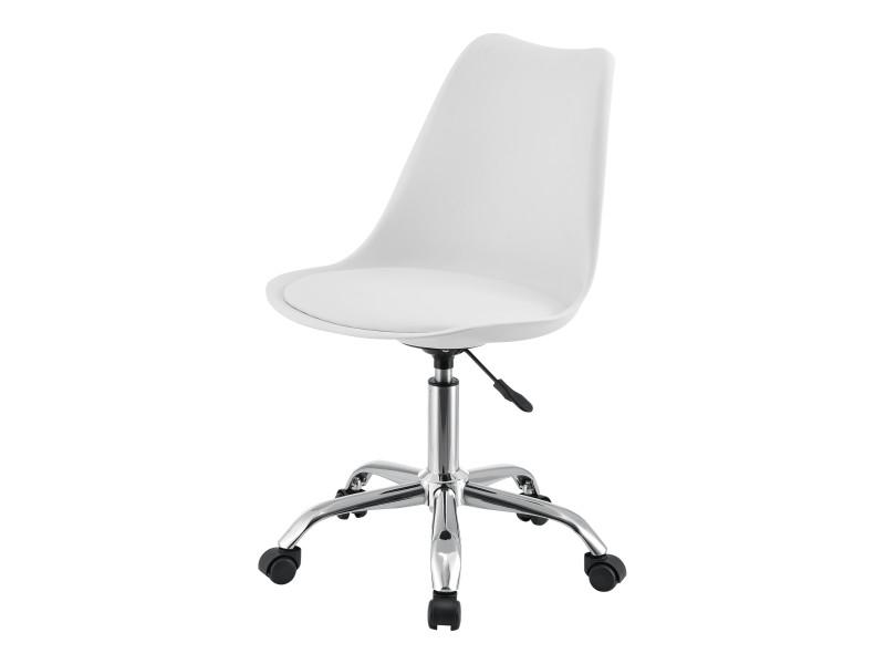 Chaise de bureau design siège rembourré à 5 roulettes fauteuil rotatif à 360° et réglable en hauteur polypropylène similcuir métal blanc [en.casa]
