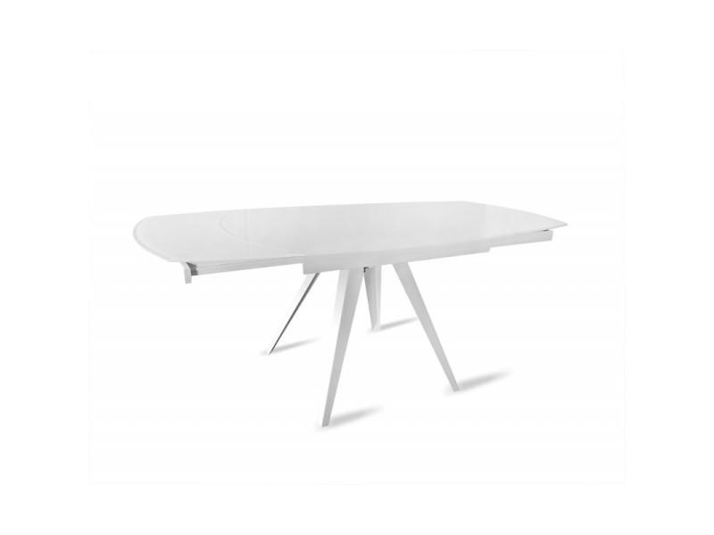Table en verre blanc extensible 120 à 180 cm ovale pieds acier - adelphia