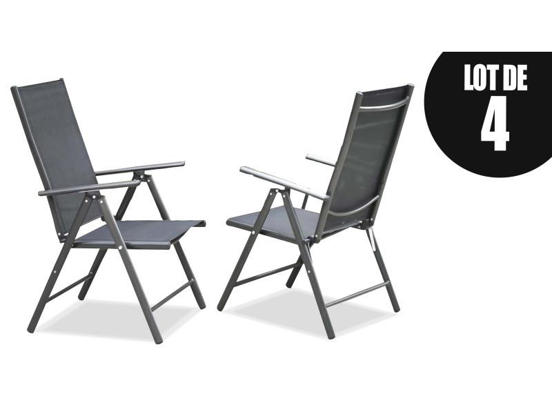 Lot de 4 fauteuils de jardin pliant multipositions