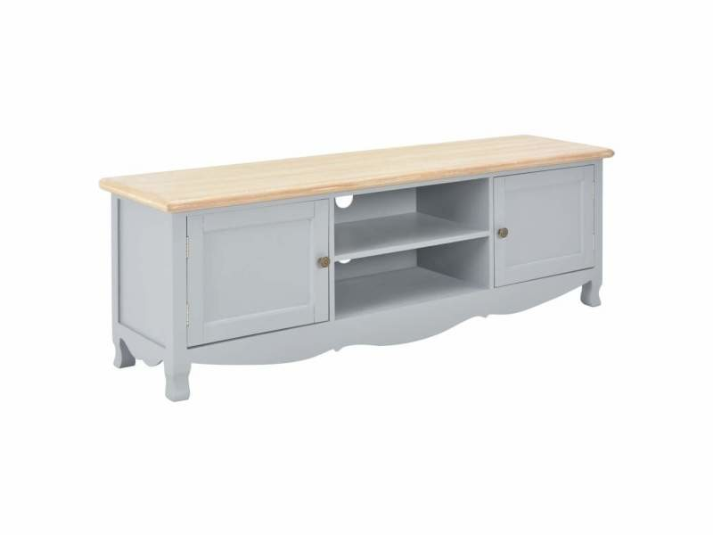 Meuble télé buffet tv télévision design pratique gris 120 cm bois helloshop26 2502190