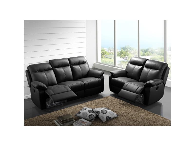 Canapé 3p relax + 2p relax électrique cuir noir - vyctoire - l 201 x l 95 x h 101 - neuf