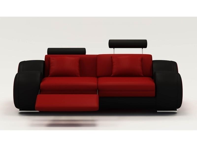 Canapé 2 places design relax oslo en cuir rouge et noir-