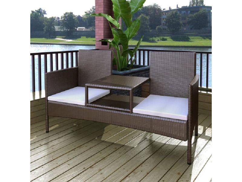 Joli meubles de jardin collection islamabad banc à deux places avec table basse rotin synthétique marron