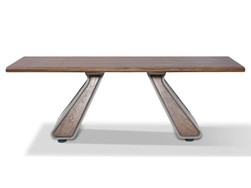 Table basse bois/laqué isora - noyer/gris - bois foncé