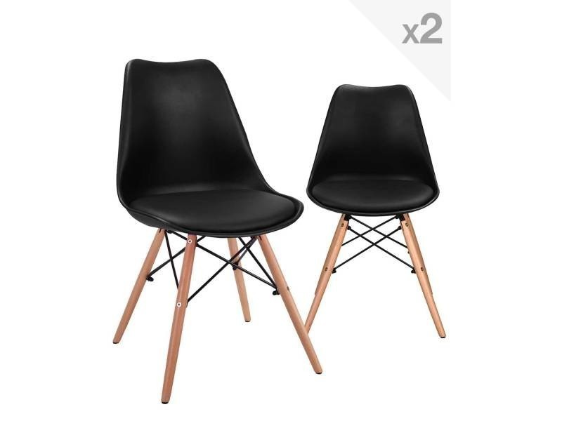 kayelles nasi lot de 2 chaises scandinave avec coussin pi tement h tre 247 nasi noir vente de. Black Bedroom Furniture Sets. Home Design Ideas