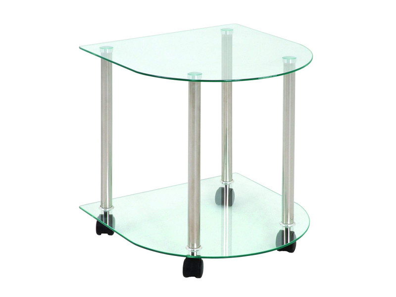 Desserte en verre trempé transparent et alum - 42 x 41 x 45 cm -pegane-