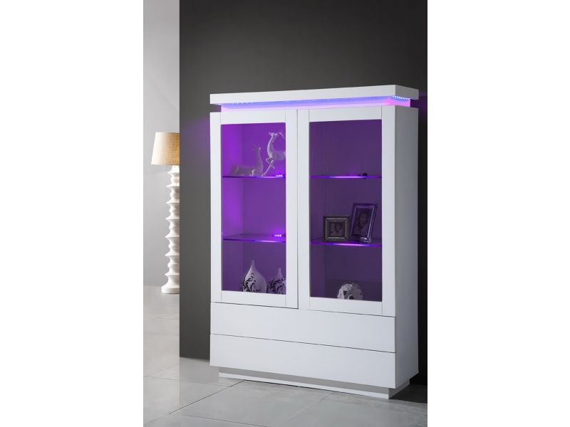 vitrine laqu e blanche 2 portes avec clairage led vente de comforium conforama. Black Bedroom Furniture Sets. Home Design Ideas