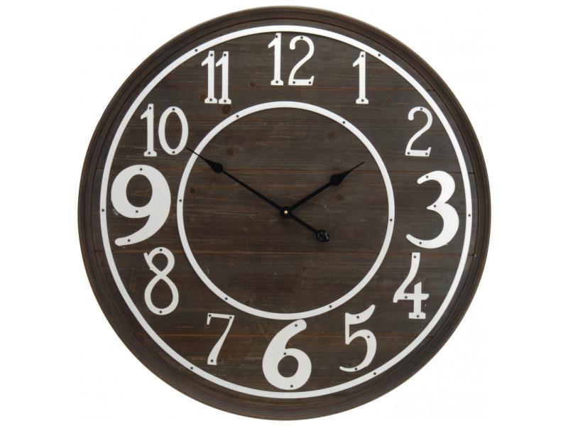 Horloge murale - d 80 cm - bois foncé