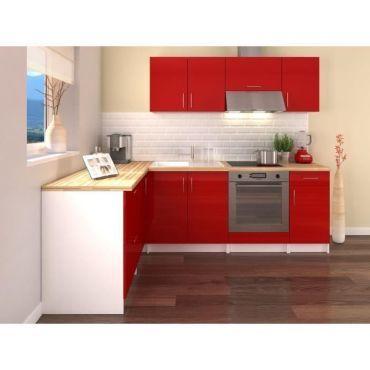 Obi cuisine complete d 39 angle l 280 cm rouge laqu Cuisine d angle complete