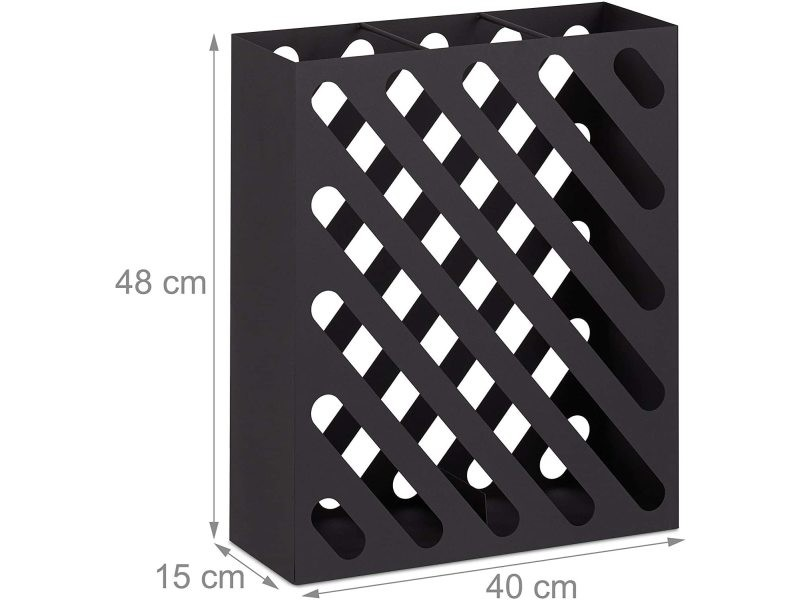 Grand porte-parapluie rectangulaire design acier noir helloshop26 13_0002211_2