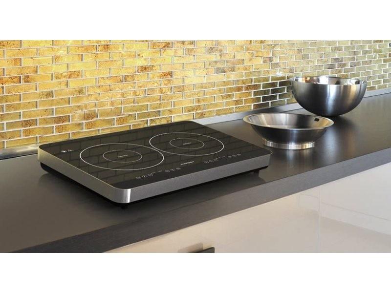 Table plaque à induction posable avec 2 foyers 3400w gris noir