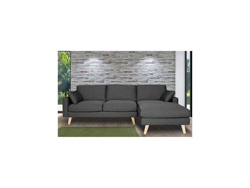 Canapé d'angle à droite en tissu gris - alta