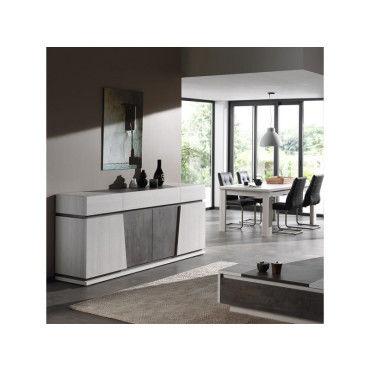 Salle à manger moderne couleur chêne blanc et gris dalie - Vente de ...