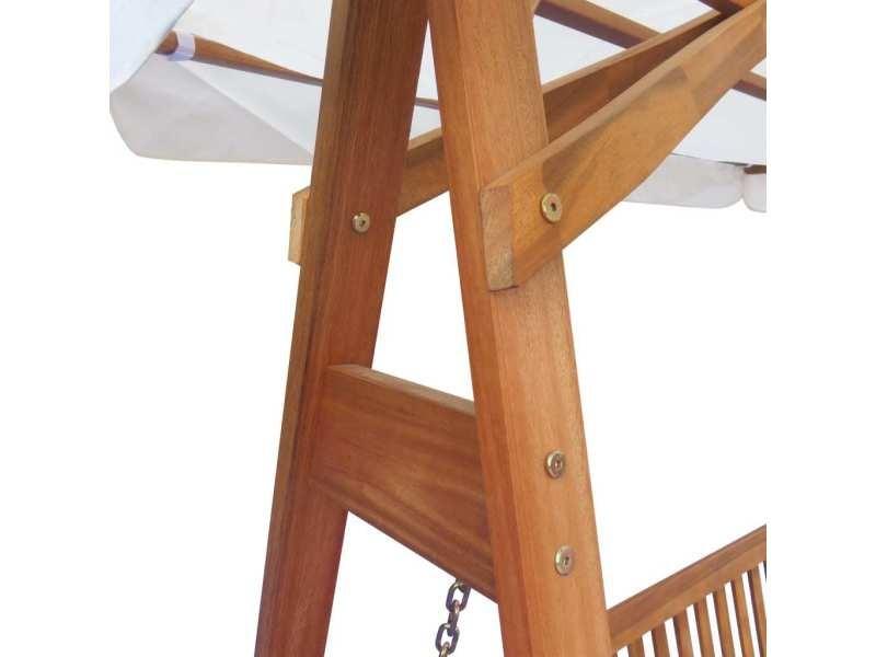 Vidaxl chaise balançoire pour jardin + baldaquin eucalyptus acacia ...