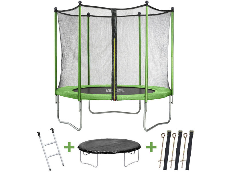 trampoline yoopi m avec filet chelle couverture kit d 39 ancrage vente de. Black Bedroom Furniture Sets. Home Design Ideas