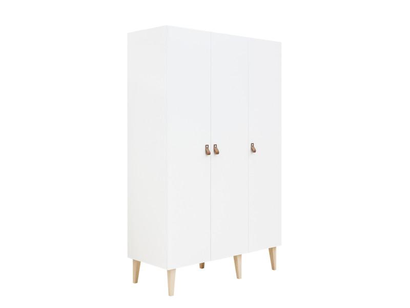 Armoire 3 portes indy - blanc et bois naturel