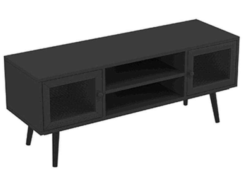 Meuble tv de 2 portes et 2 niches coloris noir mat - dim : 110 x 45 x 35 cm -pegane-
