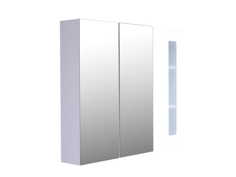 armoire avec miroir en bois rangement salle de bain fermeture porte tampon mdf blanc 36 vente. Black Bedroom Furniture Sets. Home Design Ideas