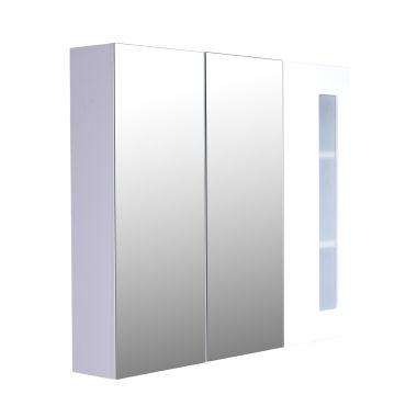 Armoire avec miroir en bois rangement salle de bain for Armoire bois conforama