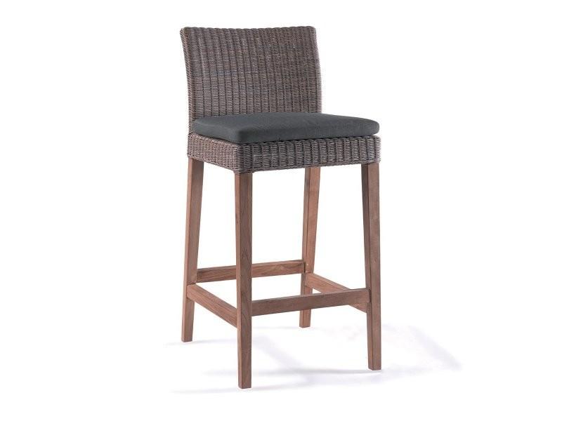 Chaise de bar en teck et résine tressée manzana