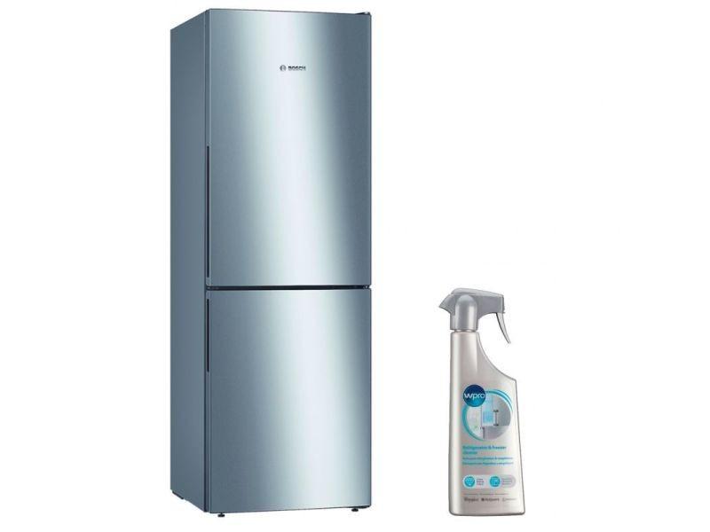 Réfrigérateur frigo combiné inox 287l froid brassé eclairage led
