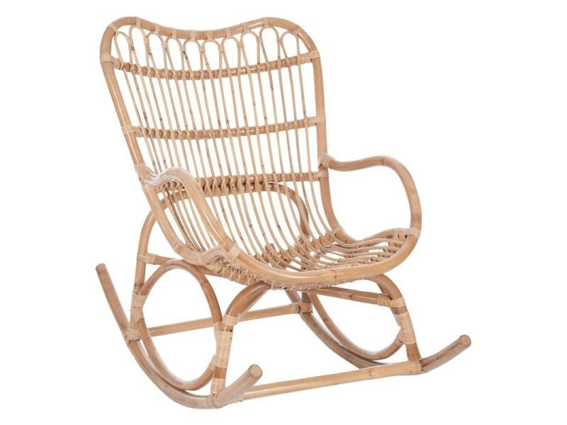 Rocking chair rotin naturel - ricky - l 110 x l 66 x h 93 - neuf