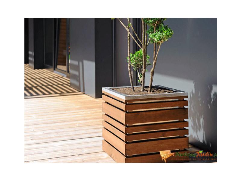 Bac à fleurs en bois carré lignz 50