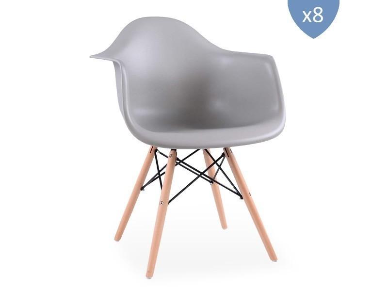 Lot de 8 chaises style scandinaves grises ajie