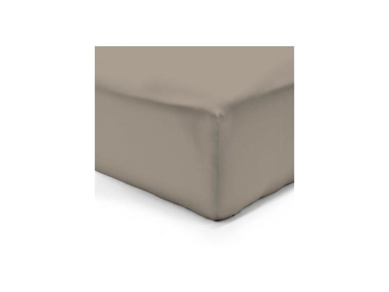 Drap housse taupe 200x200 100% coton - Vente