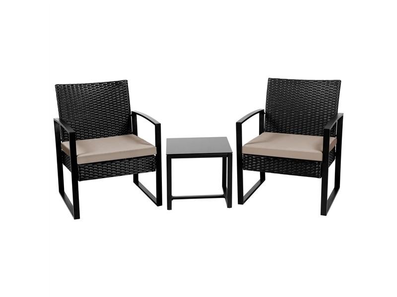 Yaheetech salon de jardin 2 fauteuils et 1 table basse pour salon/bar/bureau en résine tressée poly rotin exterieur interieur noir/beige