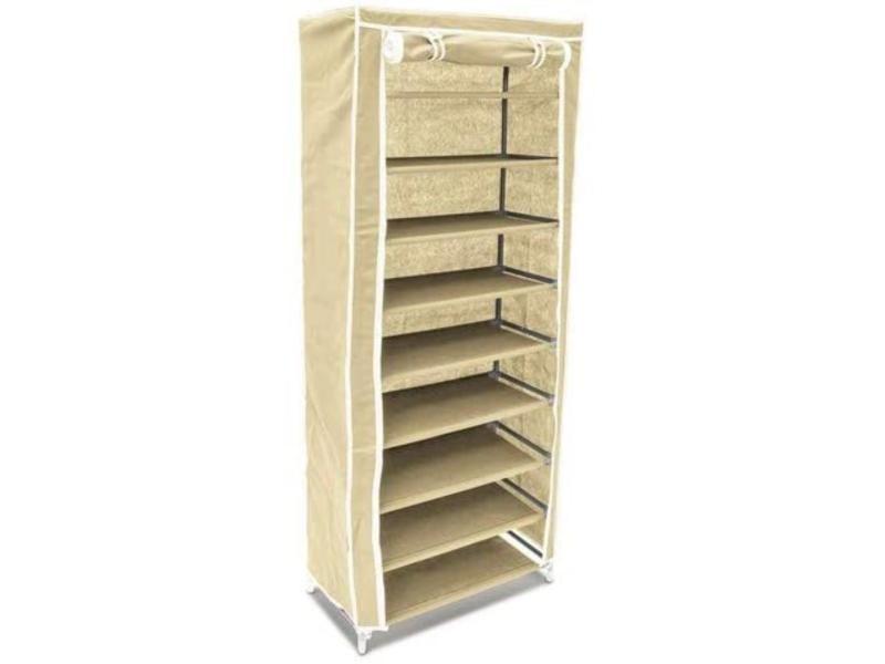 Armoire étagères à chaussures en tissu pliante 36 paires de chaussures beige helloshop26 13_0000255_2