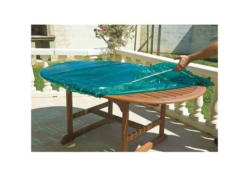 Bâches et protections housse luxe pour table ronde 120 cm. Housse de table pvc ou bois. Film polyéth