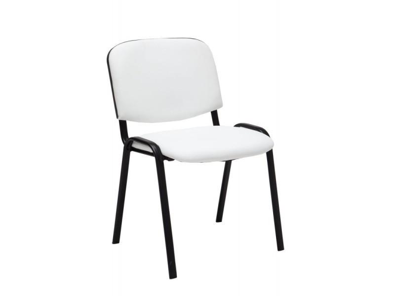 Chaise visiteur assise rembourrée en simili-cuir blanc bur10068