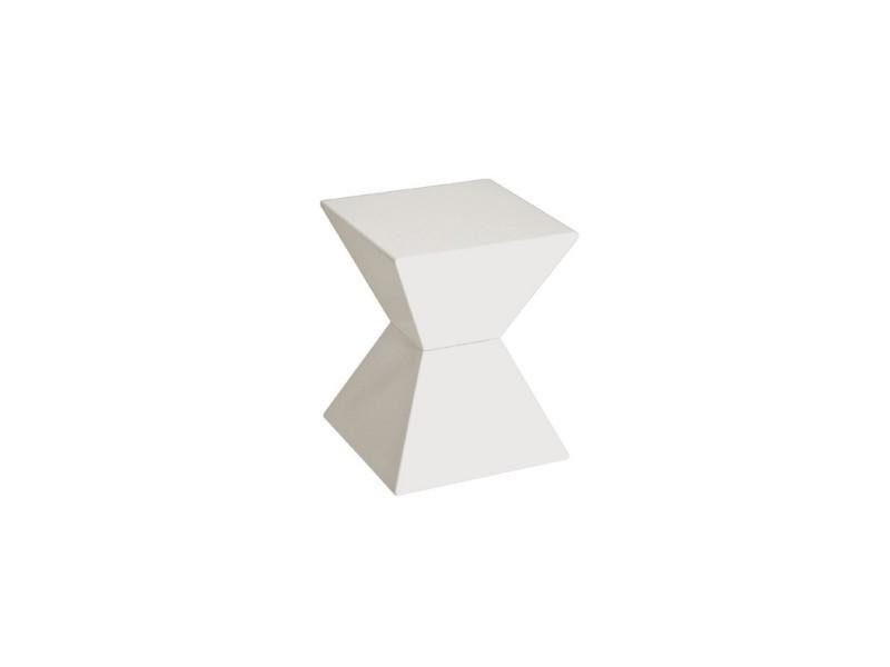 Bout de canapé laqué blanc kubik