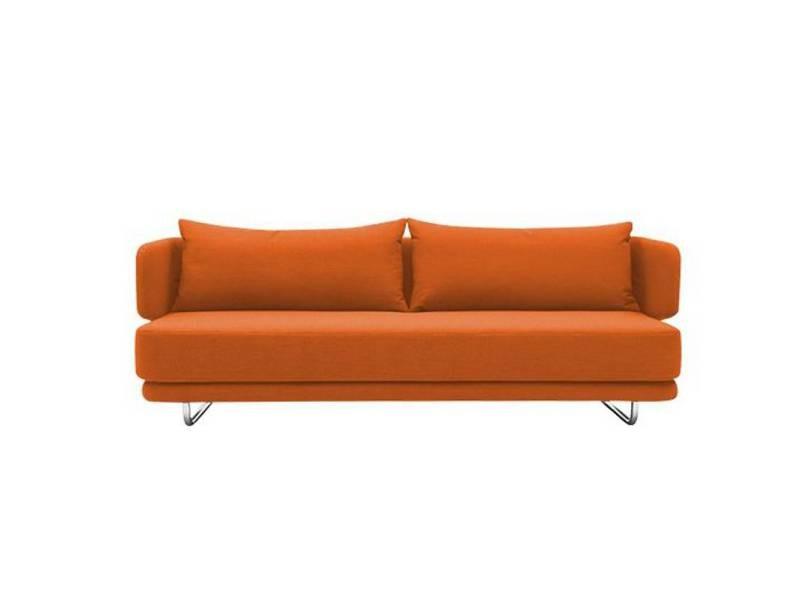 Canape Lit Design Jasper En Tissu Laine Orange Couchage 70 140 200cm