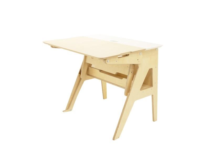 Bureau ergonomique assis-debout blanc l118cm