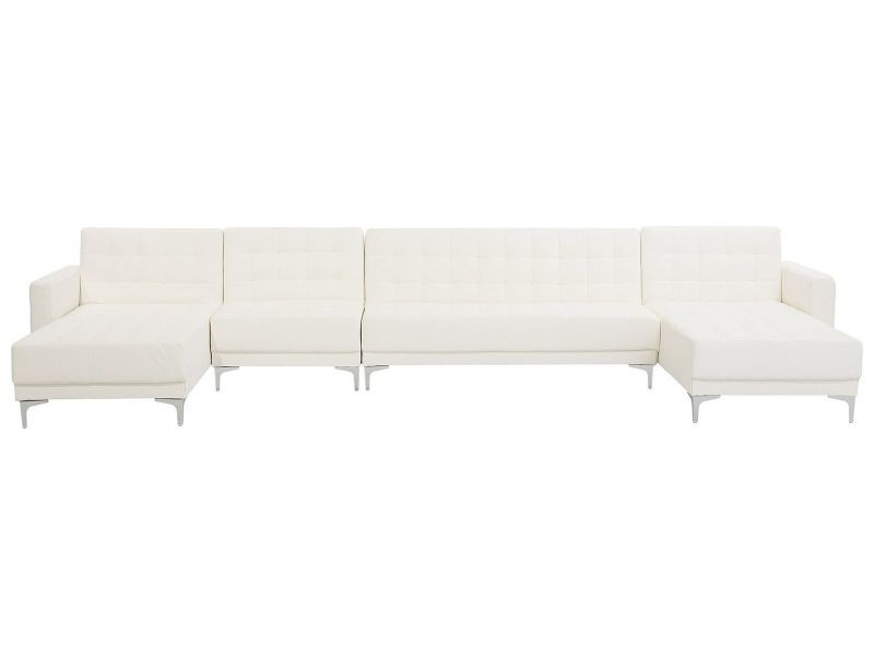 Canapé panoramique convertible en simili-cuir blanc 6 places aberdeen 150496