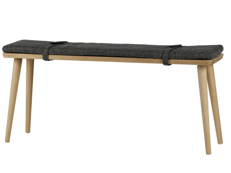 Banc en bois avec coussin en polyester coloris gris - dim : h.50 x l.110 x p.30 cm -pegane-