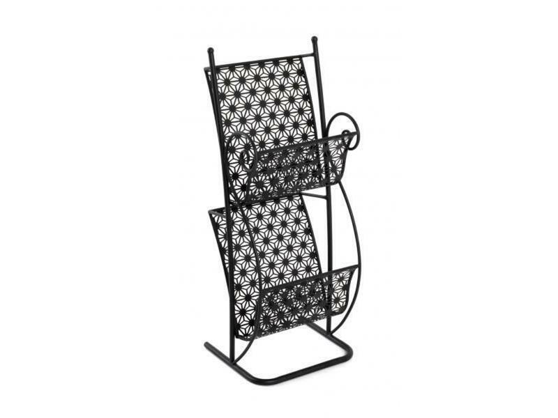 Porte-revues coloris noir en métal - l 31 x p 27 x h 80 cm -pegane- PEGANE
