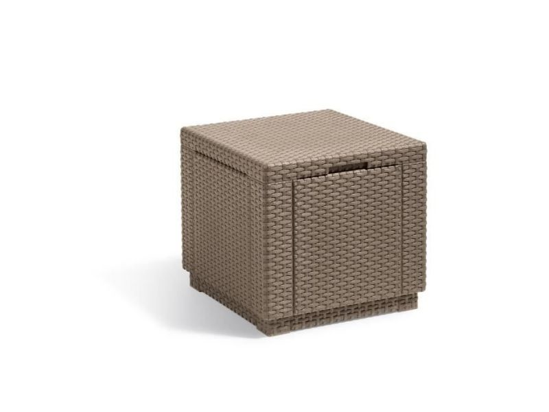 Table basse de jardin vendue seule allibert table-coffre avec coussin - imitation résine tressée cappuccino