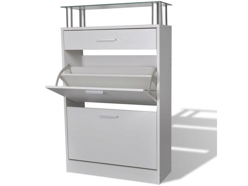 Magnifique rangements pour armoires à vêtements edition port moresby meuble à chaussures avec tiroir et plateau en verre bois blanc