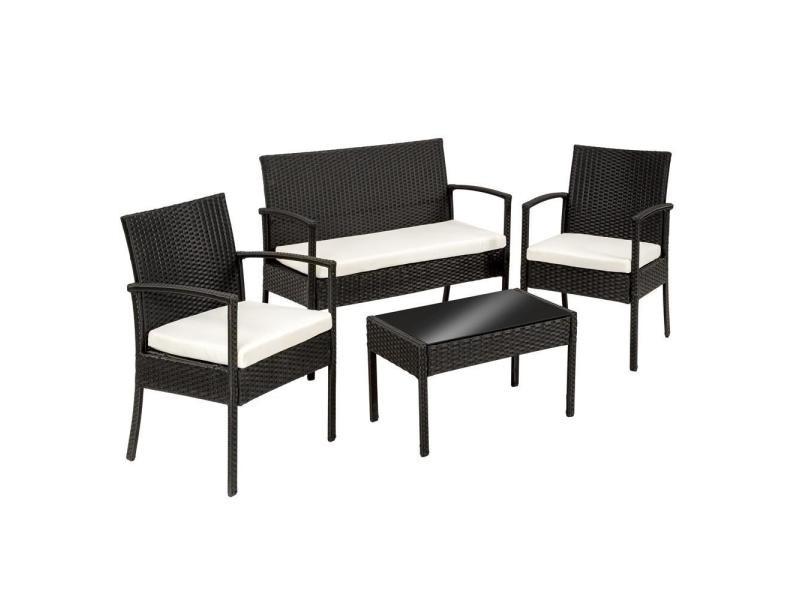 salon de jardin rotin r sine tress synth tique noir coussins housses helloshop26 2108017. Black Bedroom Furniture Sets. Home Design Ideas