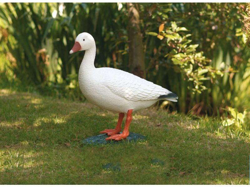 Figurine de bassin en plastique oie blanche