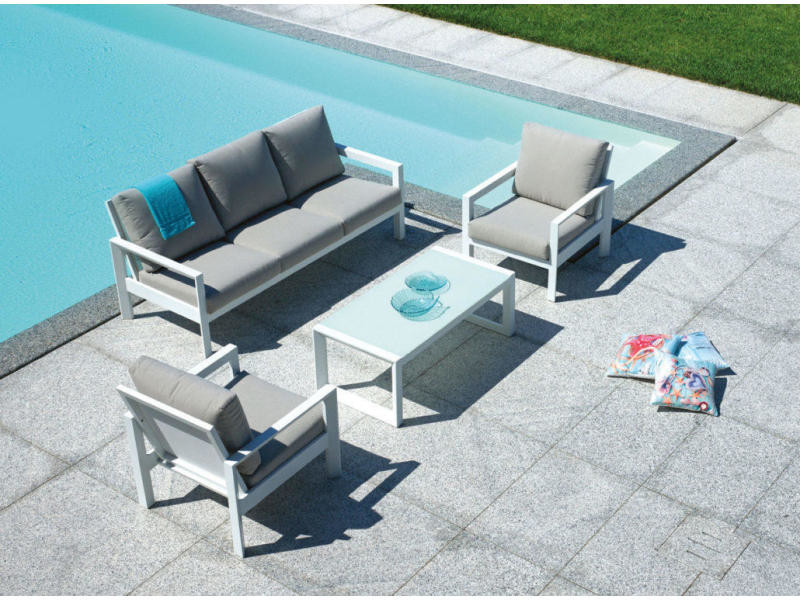 Salon de jardin en aluminium blanc et coussins coloris ...