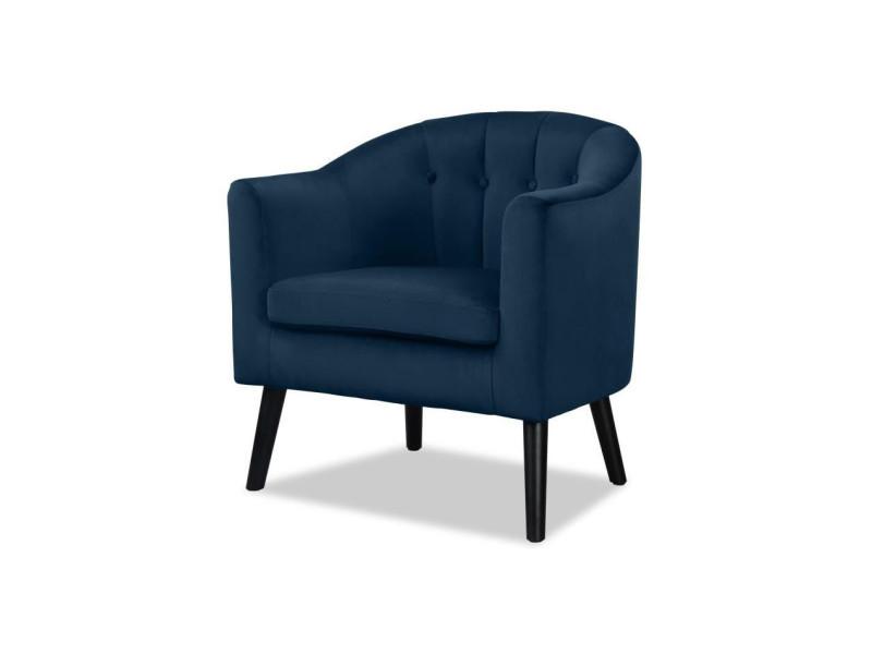 Joyce fauteuil - velours bleu canard - classique - l 70 x p 64 cm