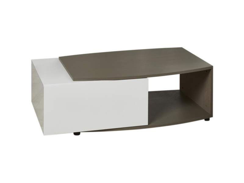 Subleem table basse bois pacific taupe et blanc